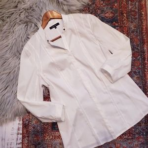 Lafayette 148 Button Front Shirt in White